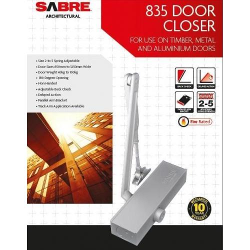 Sabre 835 Door Closer Suits Doors Up To 100kg And 1250mm