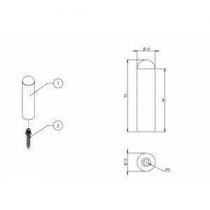 Black, Door, Skirting or wall mounted door stop