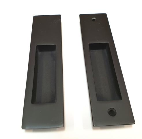 Pair Black Sliding Door Flush Pull Handles 160mm Long