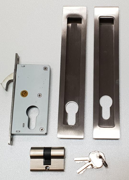 Narrow Lockable Sliding Door Flush Pull Handle Kit